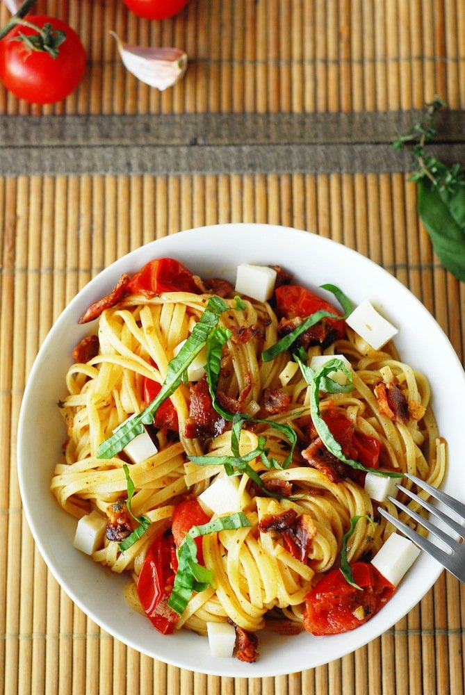 Fettuccine with Goat Cheese, Bacon, & Cherry Tomatoes
