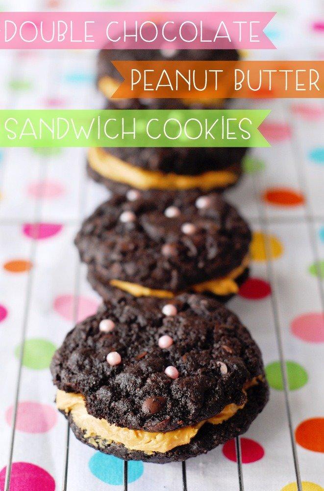 Double Chocolate Peanut Butter Sandwich Cookies
