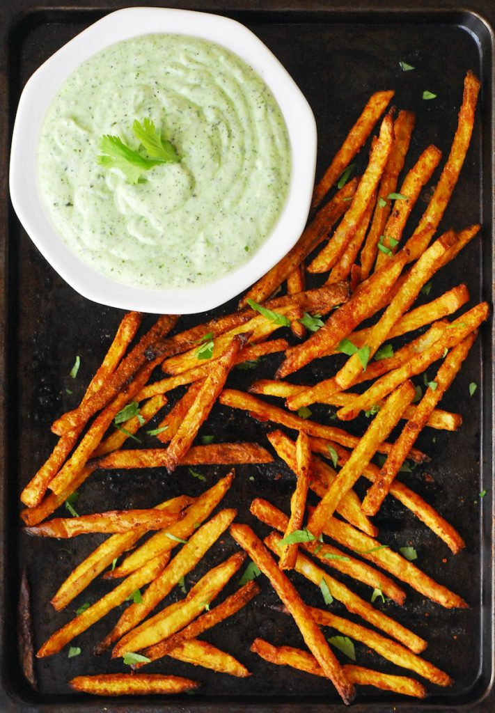-baked curry fries served with a cilantro mint yogurt dipping sauce ...