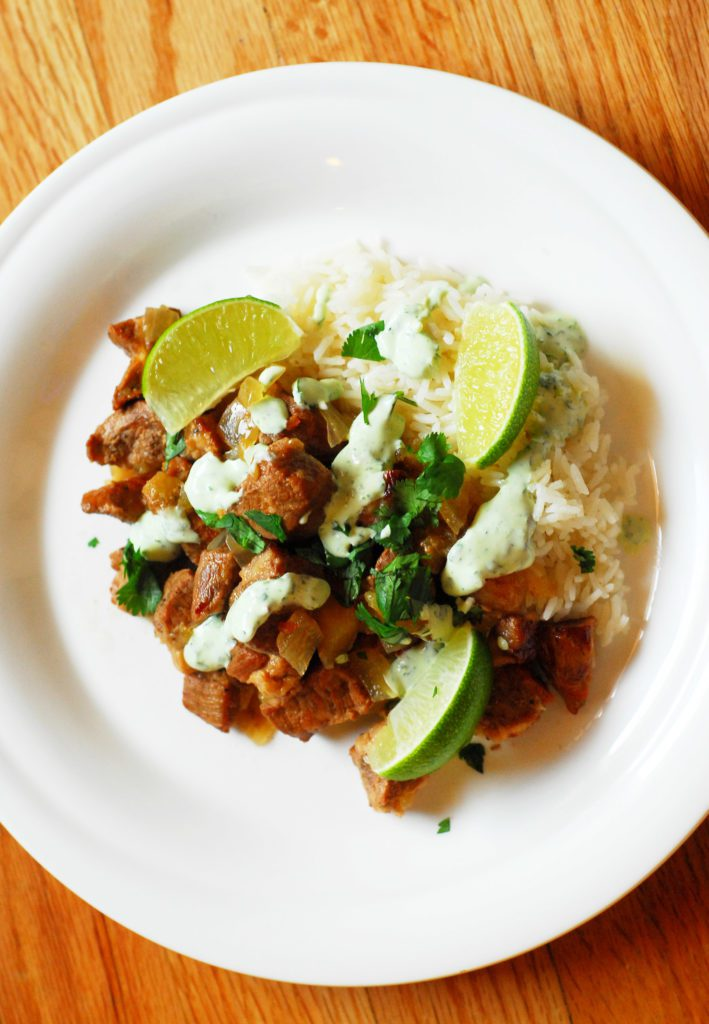 Slow Cooker Pork Stew with Apples and Lime from A Duck's Oven. This stew is a bright alternative to typical winter stews and makes an excellent, easy dinner!