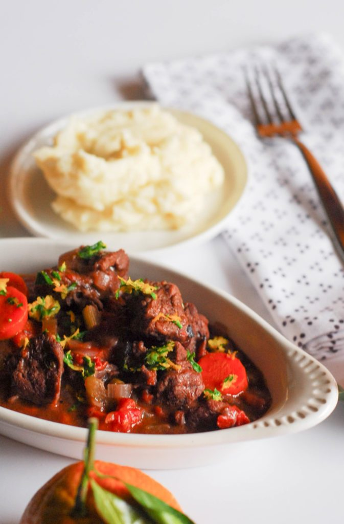 Beef Stew with Orange Gremolata from A Duck's Oven. A simple beef stew made even warmer and brighter thanks to an orange gremolata!