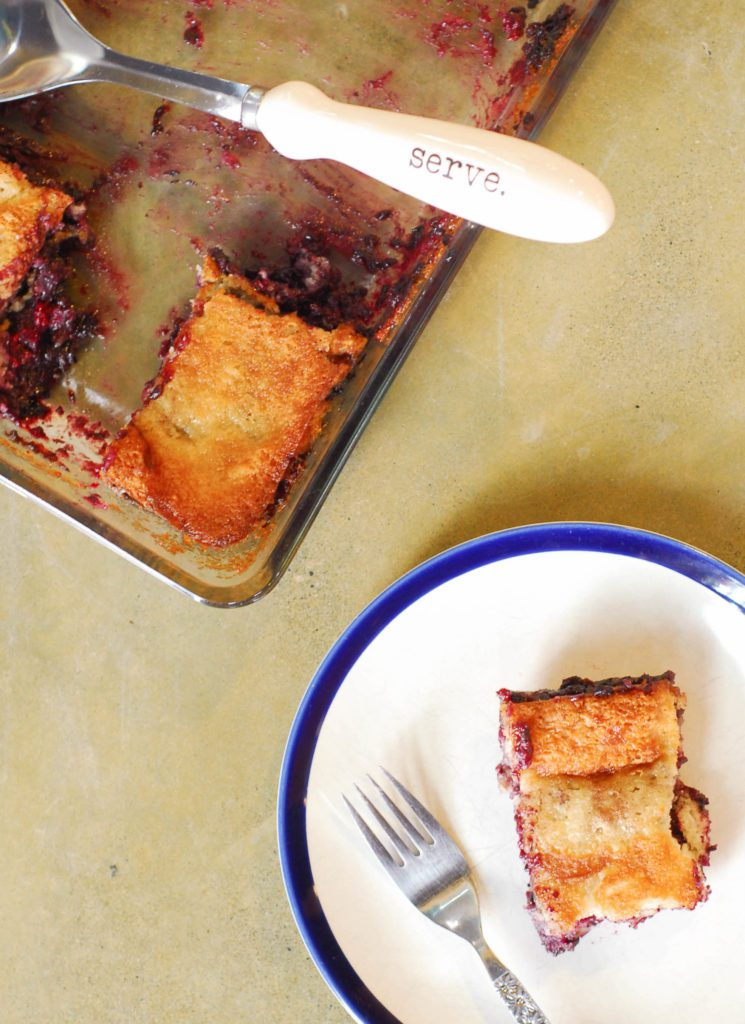 Aunt Debbie's Blackberry Cobbler from A Duck's Oven. One of the simplest cobblers to whip up! Make it with any fruit you please.